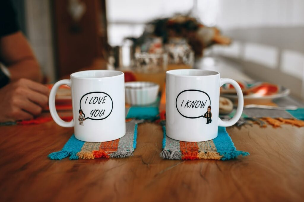 to cups saying I love you. Homeschooling and working full time. When it's not easy