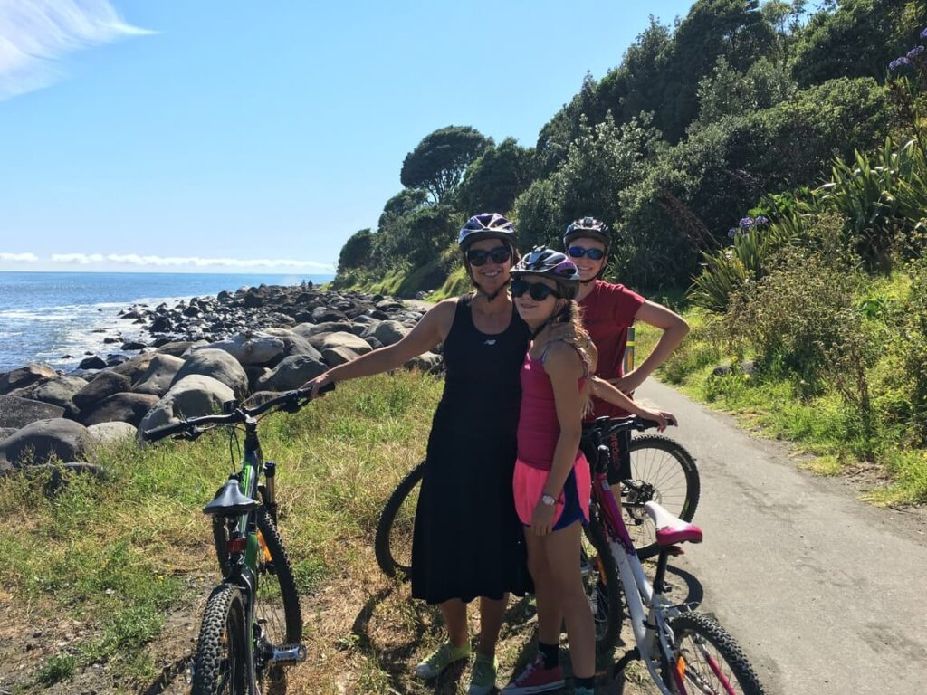 Kids mountain biking in New Zealand