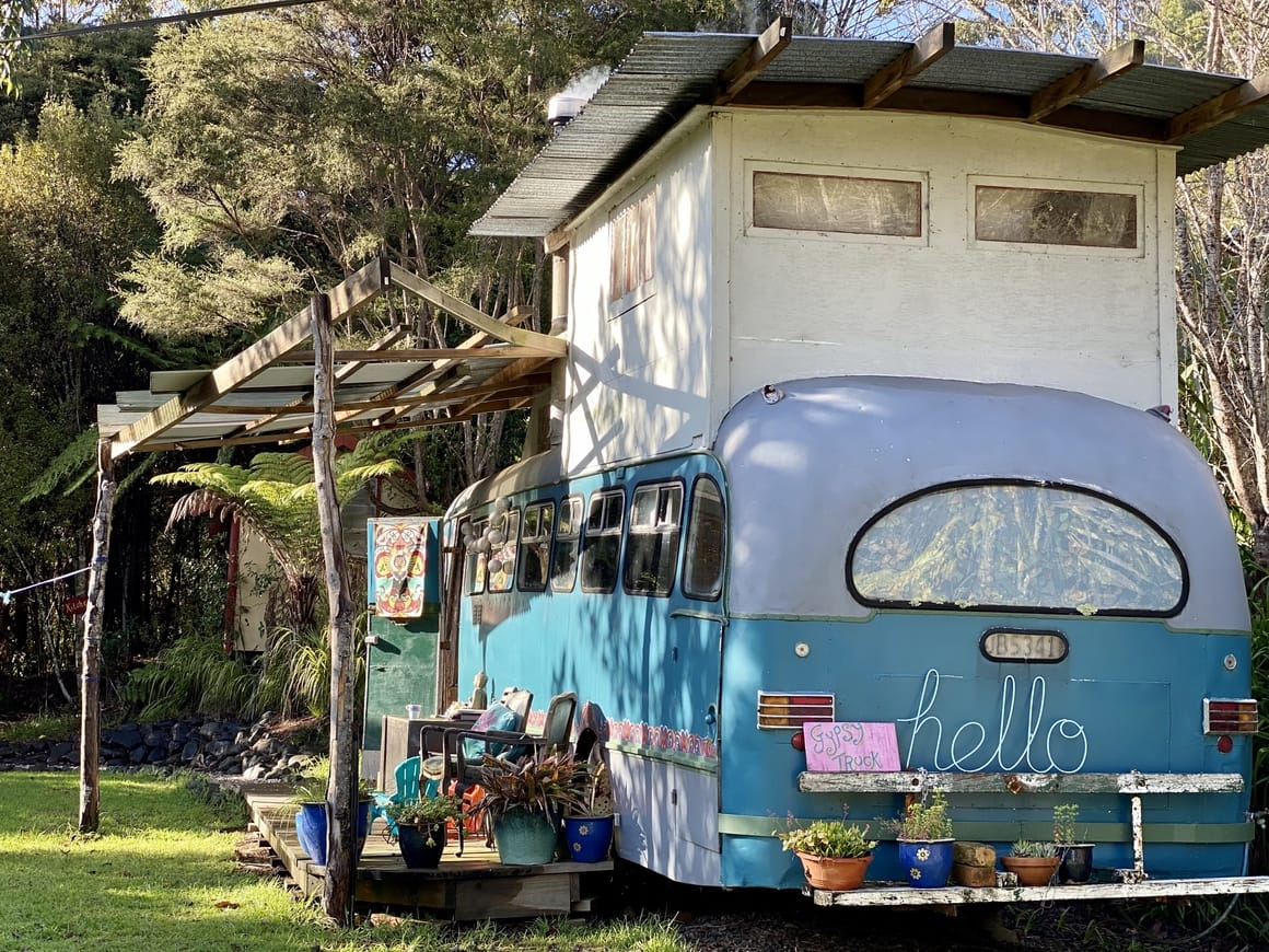 Converted bus to go glamping in new Zealand
