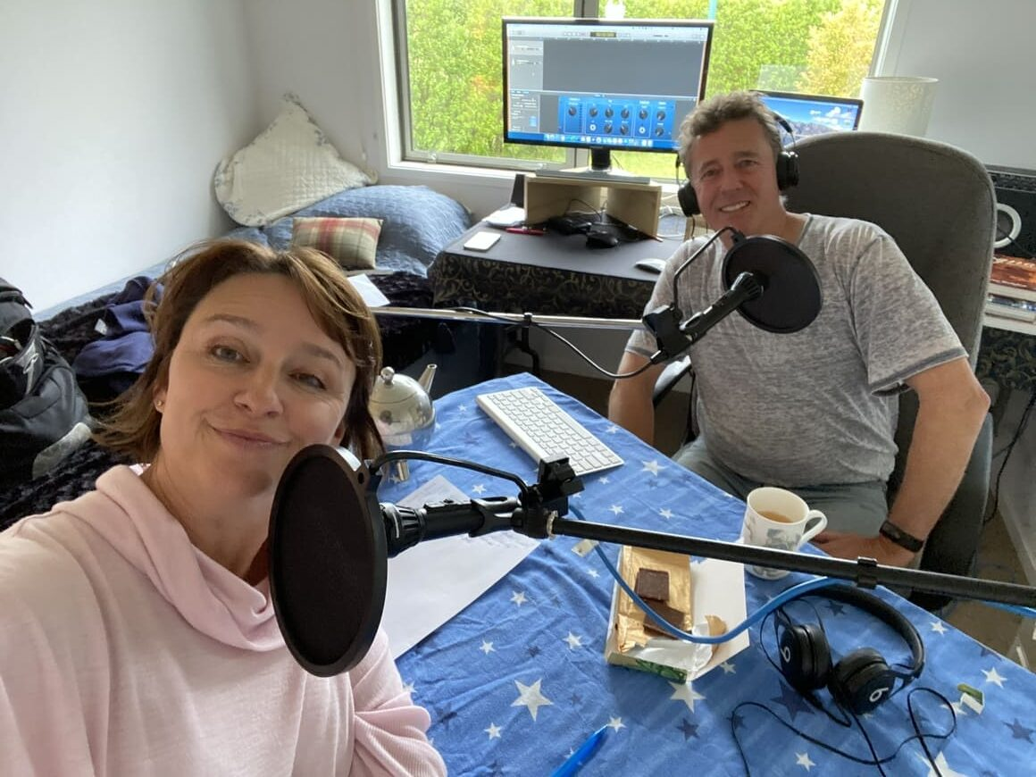 Husband and wife making a podcast in new Zealand