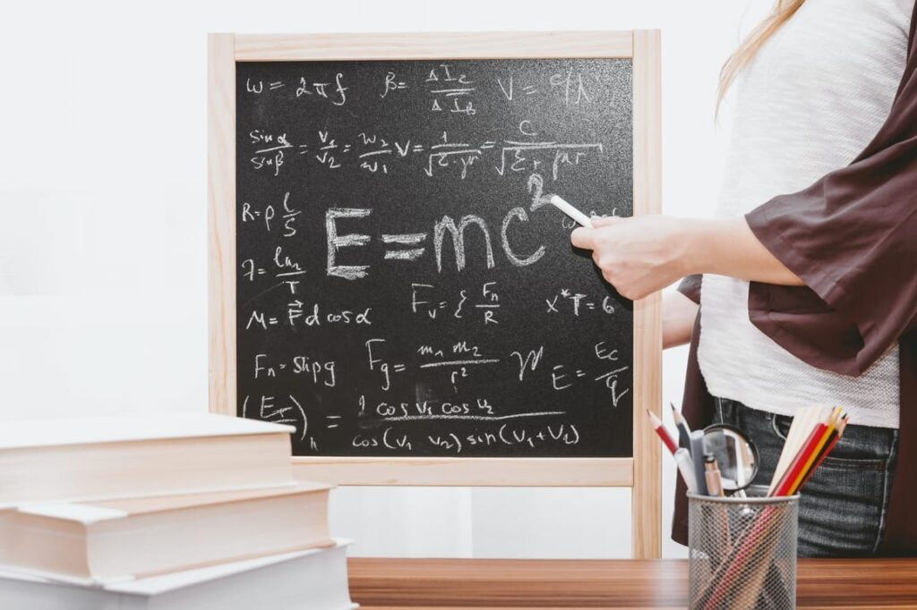 Blackboard with maths equations. Best youtube channels for kids and maths