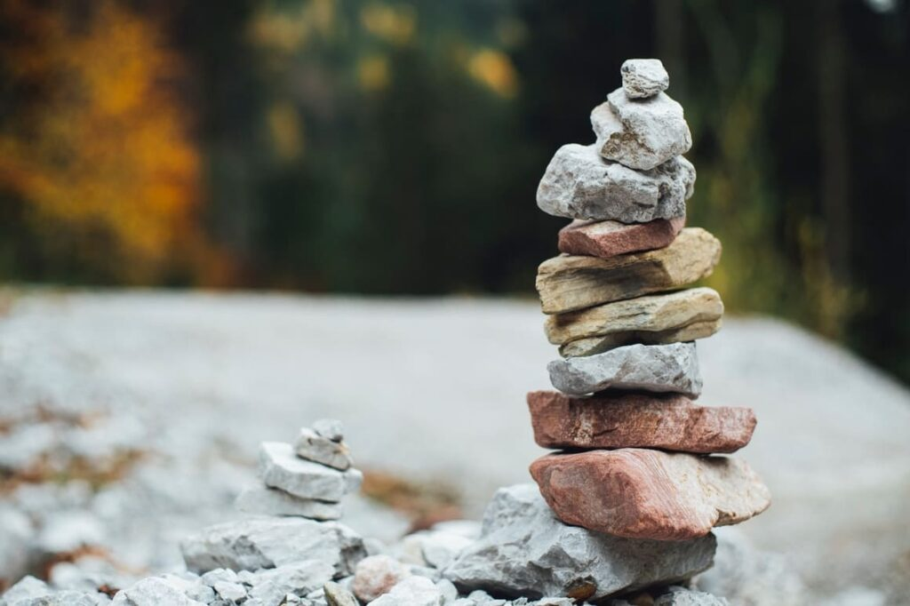 Two piles of stones piled on top of each other