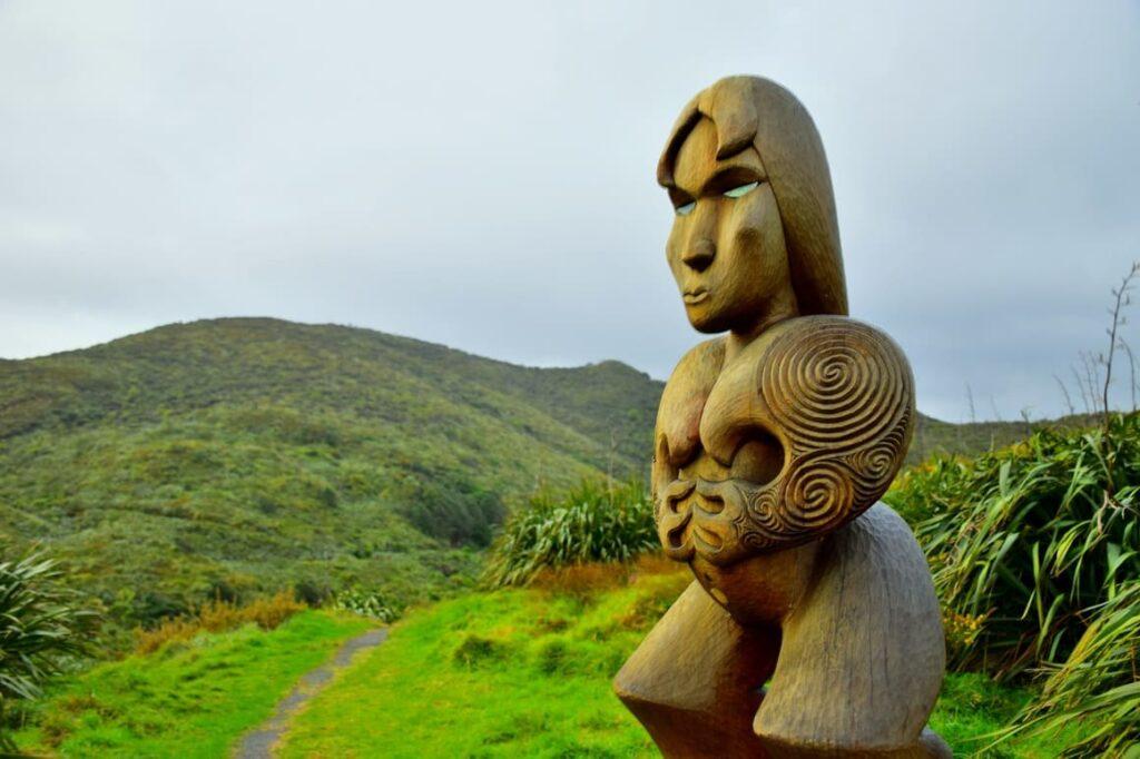 Maori statues in New Zealand