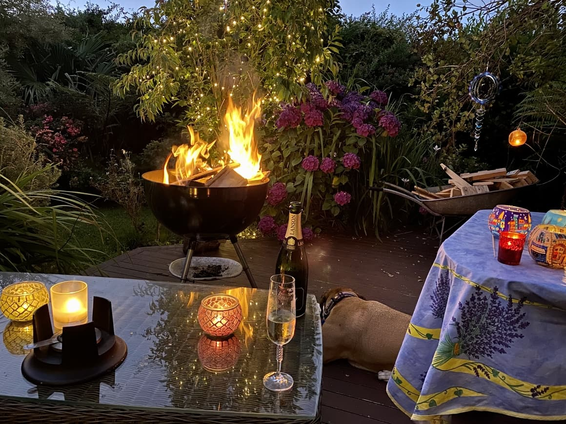 View of a fire and a bottle of champagne in New Zealand