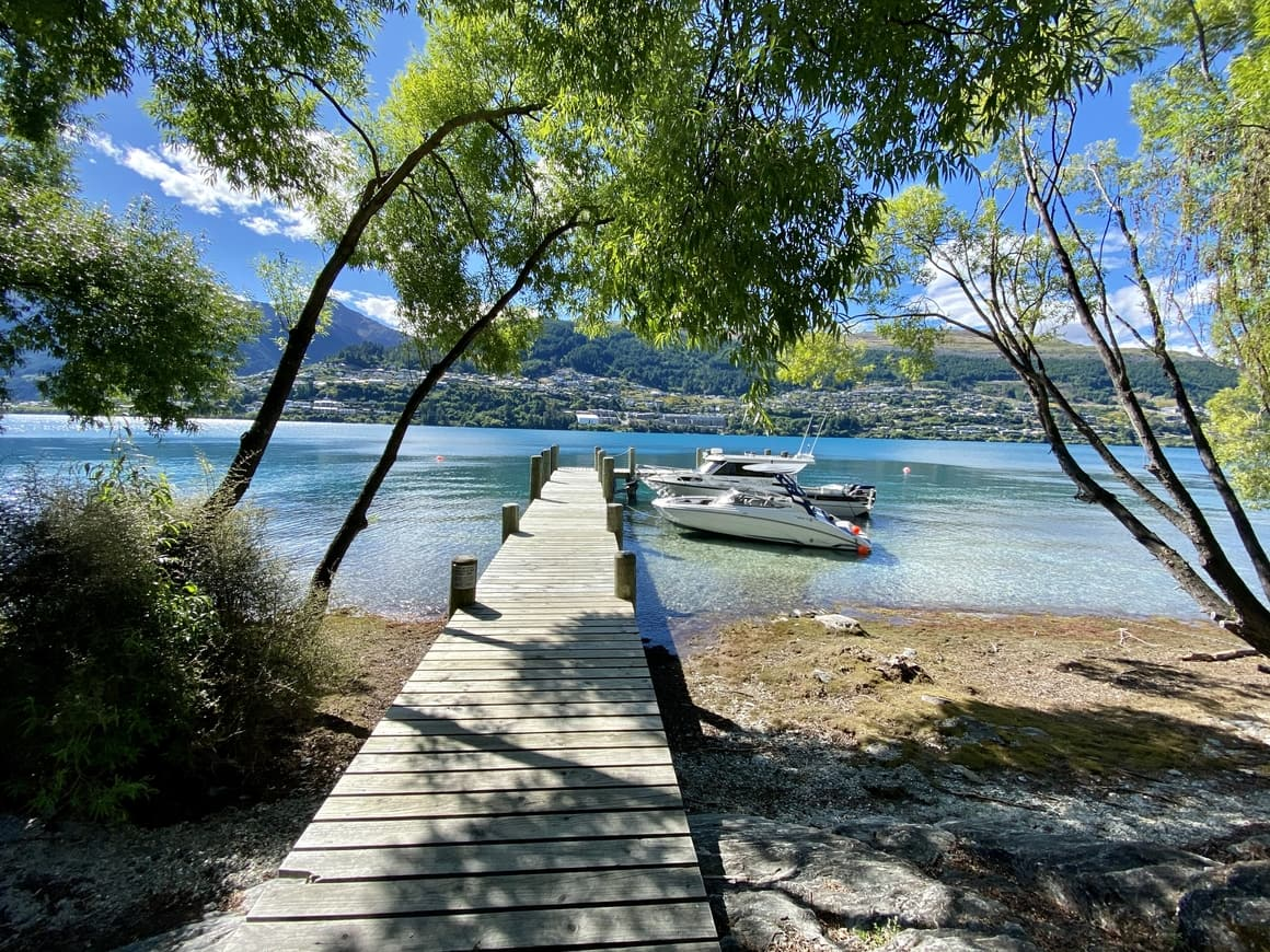 Boardwalk over water in New Zealand