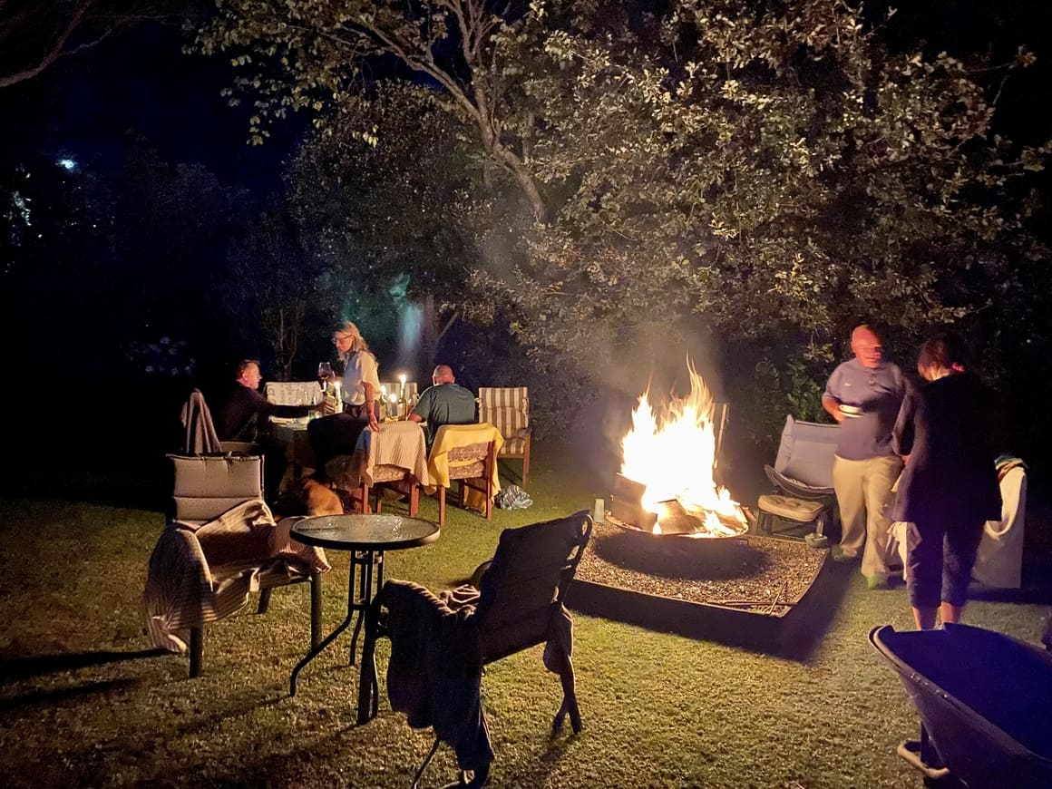 Party outside by a fire in New Zealand