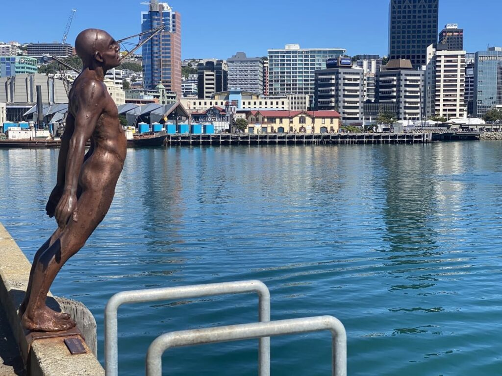 Statue by water in Wellington, New Zealand