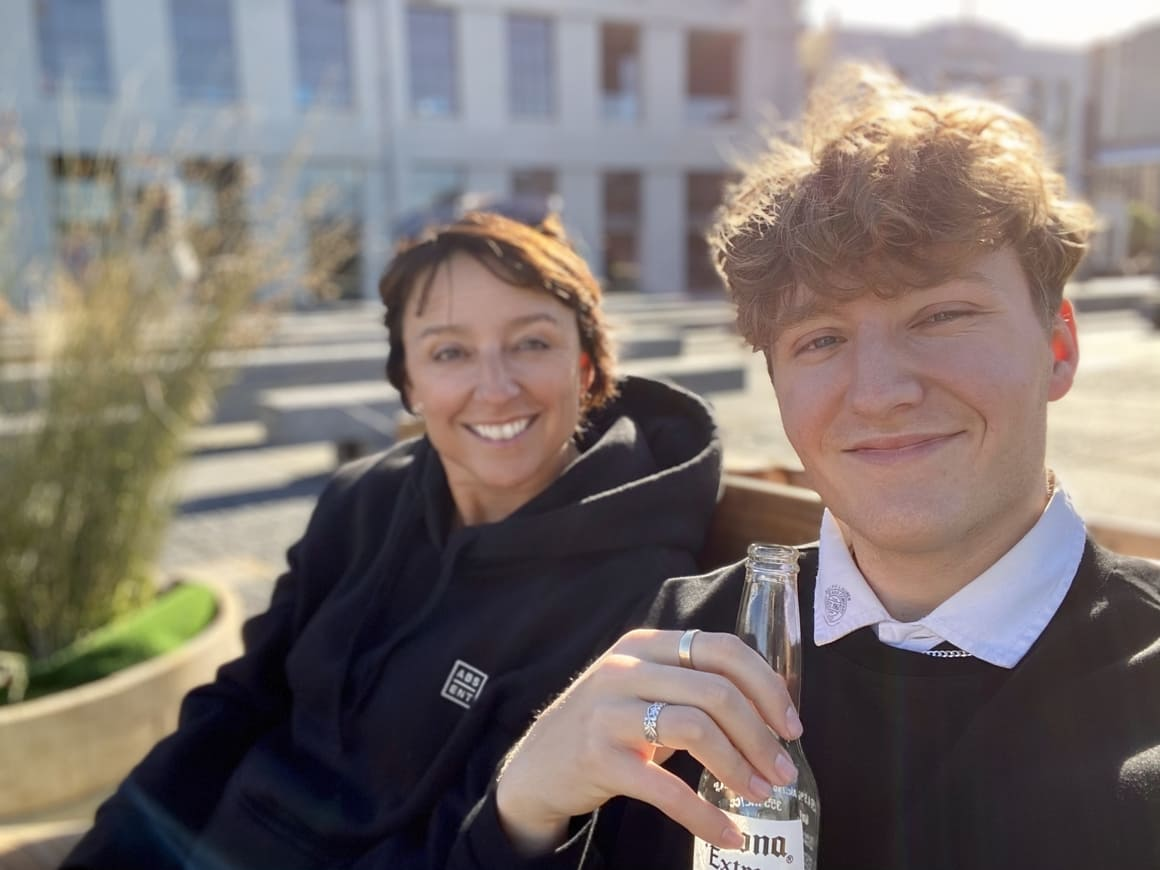 Mum and teenage son in Wellington, New Zealand